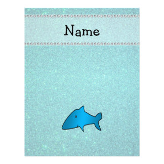 Personalized name shark turquoise glitter flyer