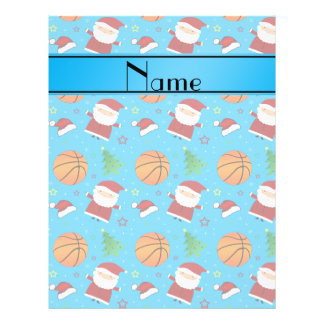 Personalized name sky blue basketball christmas full color flyer