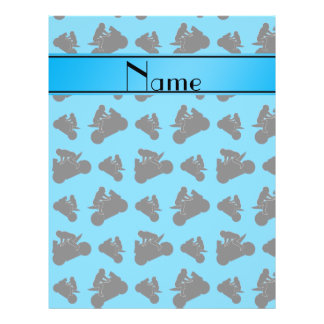 Personalized name sky blue black motorcycle racing 21.5 cm x 28 cm flyer