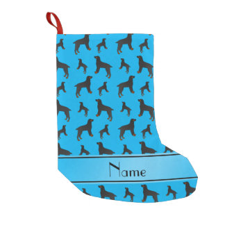 Personalized name sky blue field spaniel dogs small christmas stocking