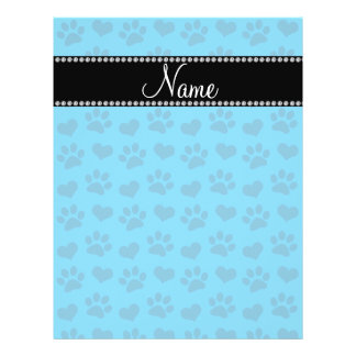 Personalized name sky blue hearts and paw prints flyer