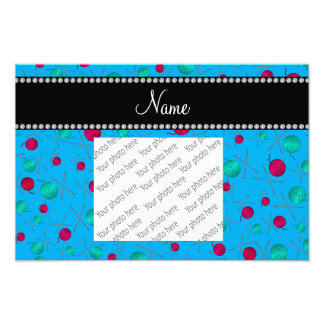 Personalized name sky blue knitting pattern photo art