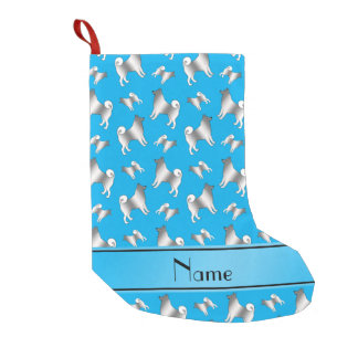 Personalized name sky blue Norwegian Elkhound dogs Small Christmas Stocking