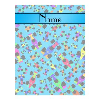 Personalized name sky blue race car pattern flyers