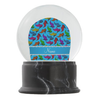 Personalized name sky blue rainbow vintage shoes snow globe