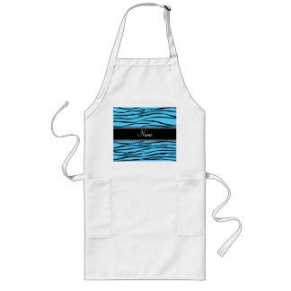 Personalized name sky blue zebra stripes long apron