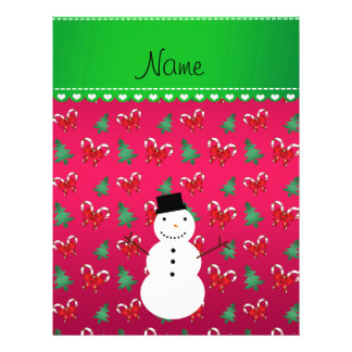 Personalized name snowman pink trees bows full color flyer