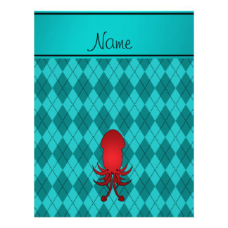 Personalized name squid turquoise argyle personalized flyer