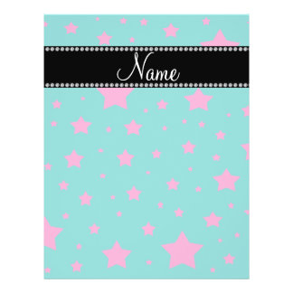 Personalized name Turquoise and Pink stars Personalized Flyer