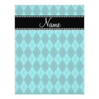 Personalized name turquoise argyle flyer