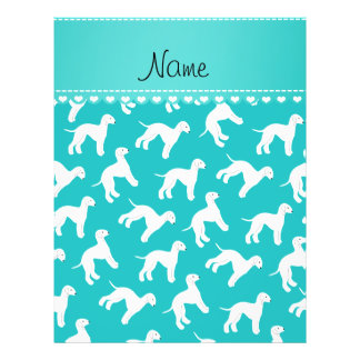 Personalized name turquoise bedlington terrier dog 21.5 cm x 28 cm flyer