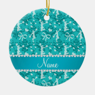 Personalized name turquoise cheerleading damask christmas ornament