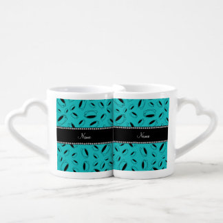 Personalized name turquoise coffee cup
