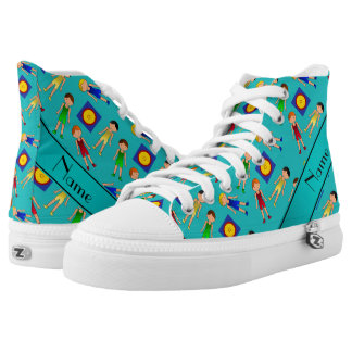 Personalized name turquoise cute boy wrestlers mat high tops