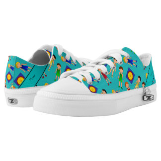 Personalized name turquoise cute boy wrestlers mat low tops