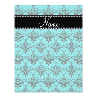 Personalized name turquoise damask personalized flyer