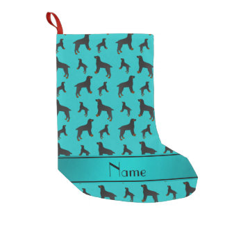 Personalized name turquoise field spaniel dogs small christmas stocking