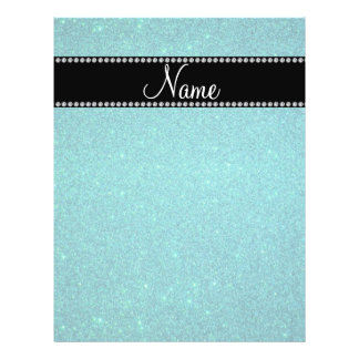Personalized name turquoise glitter full color flyer