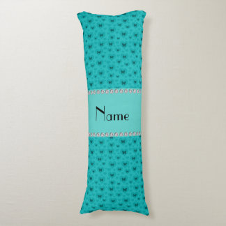 Personalized name turquoise hearts and butterflies body pillow