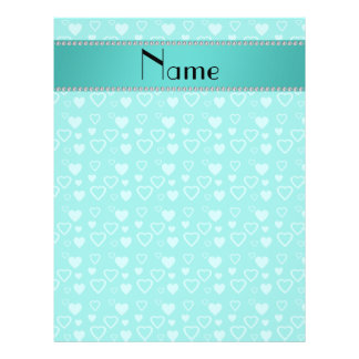 Personalized name turquoise hearts flyers