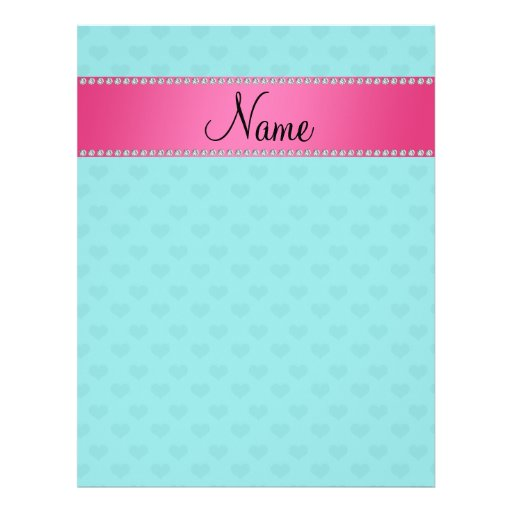Personalized name turquoise hearts personalized flyer