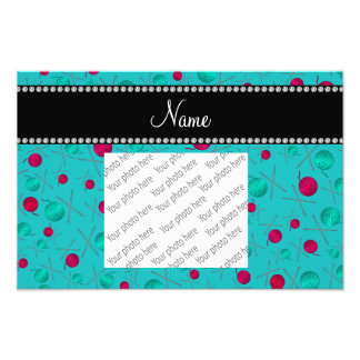 Personalized name turquoise knitting pattern photographic print