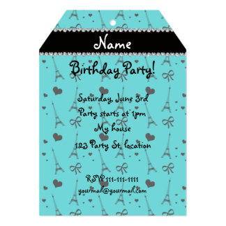 """Personalized name turquoise paris eiffel tower 5"""" x 7"""" invitation card"""