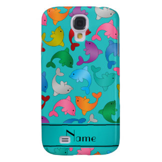 Personalized name turquoise rainbow dolphins galaxy s4 case