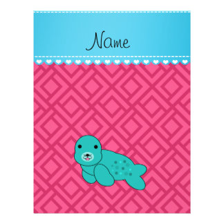 Personalized name turquoise seal pink triangles full color flyer
