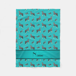 Personalized name turquoise Standard Schnauzer dog Fleece Blanket