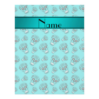 Personalized name turquoise sugar skulls full color flyer
