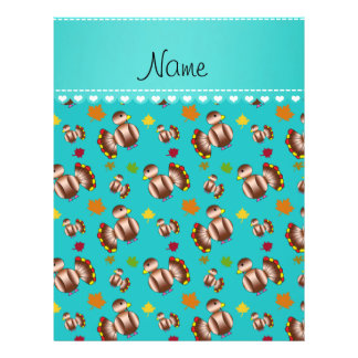 Personalized name turquoise turkey's leaves 21.5 cm x 28 cm flyer