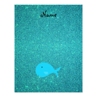 Personalized name turquoise whale glitter flyer