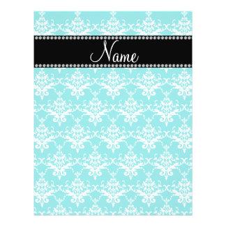 Personalized name turquoise white damask flyers