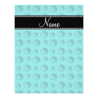 Personalized name turquoise ying yang pattern flyer