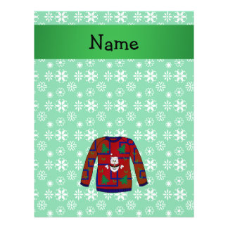 Personalized name ugly christmas sweater snowflake 21.5 cm x 28 cm flyer