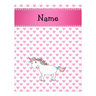 Personalized name unicorn pink hearts 21.5 cm x 28 cm flyer