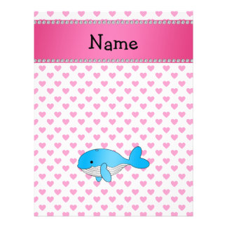 Personalized name whale pink hearts custom flyer