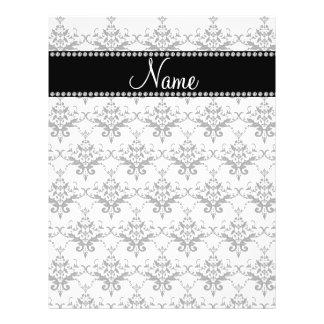 Personalized name White damask Custom Flyer