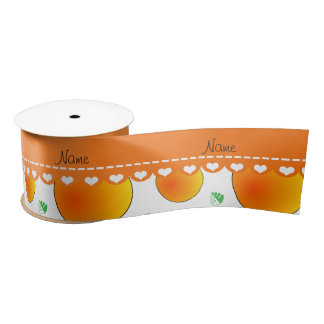 Personalized name white peaches green leaves swirl satin ribbon