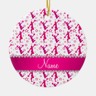 Personalized name white pink cheerleading stars christmas ornament