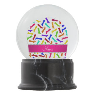Personalized name white rainbow boots snow globe