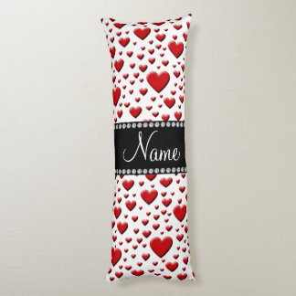 Personalized name white red hearts body pillow