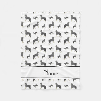 Personalized name white Standard Schnauzer dogs Fleece Blanket