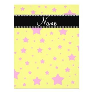 Personalized name Yellow and Pink stars Custom Flyer