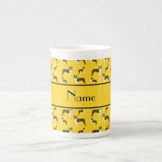 Personalized name yellow boston terrier bone china mug