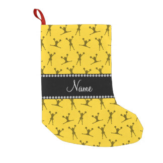 Personalized name yellow cheerleader pattern small christmas stocking