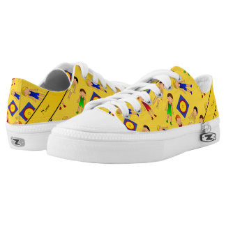 Personalized name yellow cute boy wrestlers mat low tops