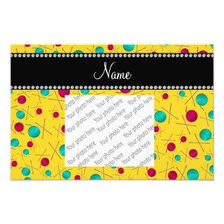 Personalized name yellow knitting pattern photograph