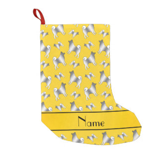 Personalized name yellow Norwegian Elkhound dogs Small Christmas Stocking